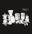 collection of tools for coffee brewing in black vector image vector image