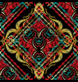 colorful embroidery style baroque seamless pattern vector image