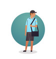 courier boy icon postal service delivery worker vector image