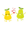 cute pears couple for valentines day card vector image vector image