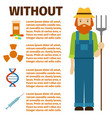farmer character man infographic agriculture vector image vector image
