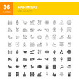 farming line web glyph icons vector image