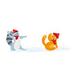 flat cat raccoon character playing iceballs vector image vector image