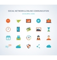 Flat design with social network and online vector image