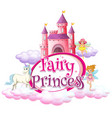 font design for word fairy princess with fairies vector image