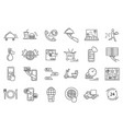 Food delivery sign black thin line icon set