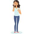 girl talking on phone vector image vector image