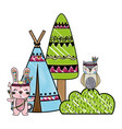 grated rabbit and owl animal with camp and bush vector image vector image