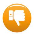 hand sediment icon orange vector image vector image