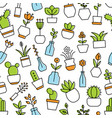 home flowers seamless pattern vector image