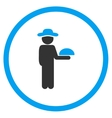 Human Figure Waiter Circled Icon vector image vector image