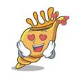 in love exotic shell mascot cartoon vector image