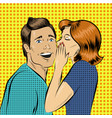 in pop art style woman whisper vector image vector image