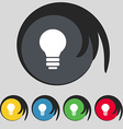 Light lamp Idea icon sign Symbol on five colored vector image vector image