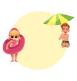 little girl playing on beach with inflatable ring vector image vector image