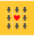 Man Woman icon Tic tac toe game Red heart sign vector image