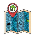 paper map with pointer location isolated icon vector image