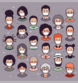people heads wearing protective masks vector image