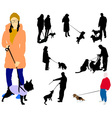 people walking a dogs vs vector image