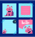 pinned square note cards with cute monsters vector image
