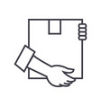 post box with hands line icon sign vector image vector image