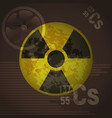 radioactive sign danger cesium 137 on a brown vector image vector image