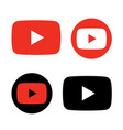 red and black play button icon vector image