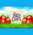 red eggs in a field of grass with blue sky happy vector image vector image