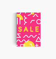 sale pink banner template with memphis geometrical vector image vector image