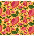 Seamless pattern of ripe juicy lemons with leaves vector image