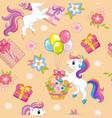 seamless pattern unicorns happy birthday beige vector image vector image