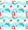 seamless pattern with cute little mermaids vector image