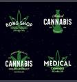 set modern vintage cannabis logo labels badges vector image