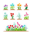 Spring garden flowers icon set forest flower