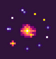 starry sky space pixel game celestial body set vector image
