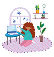 stay at home girl on room floor with laptop vector image vector image