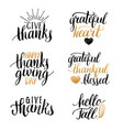 thanksgiving lettering for invitations or vector image vector image