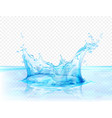 translucent water splash isolated on transparent vector image