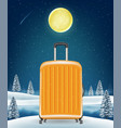 travel luggage bag on winter lake background vector image vector image
