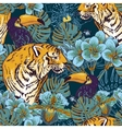 Tropical floral seamless background with Tiger vector image vector image