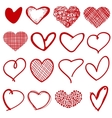 Vintage outline hand drawn sketchy hearts vector image vector image