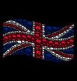waving united kingdom flag pattern of island vector image vector image