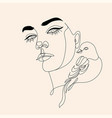 woman line drawing face with bird and flowers vector image vector image