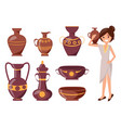 woman posing with clay vase vector image vector image
