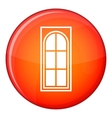 Wooden door with glass icon flat style vector image vector image