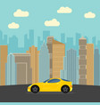 yellow sports car in the city vector image vector image