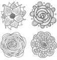 doodle mandala set - coloring page for adults vector image