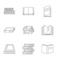reference publication icons set outline style vector image