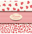 3 romantic seamless patterns pink and vector image vector image