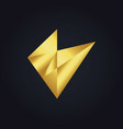 abstract triangle shape gold logo vector image vector image